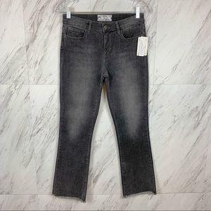 Free People Crop Straight Leg Jeans Frayed Hem